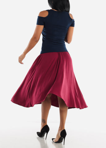 Image of Burgundy Multi Way Dress Or Skirt
