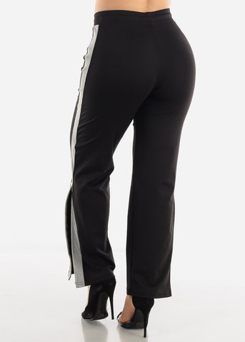 Black & White Side Slit Jogger Pants