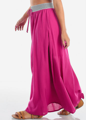 Stylish Fuchsia Maxi Skirt