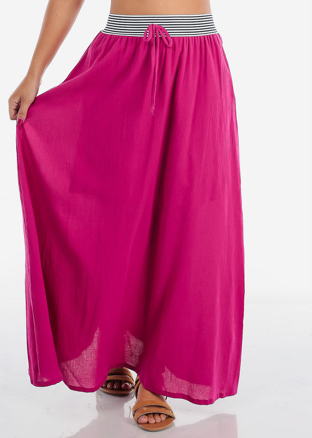 Cheap Stylish Fuchsia Maxi Skirt