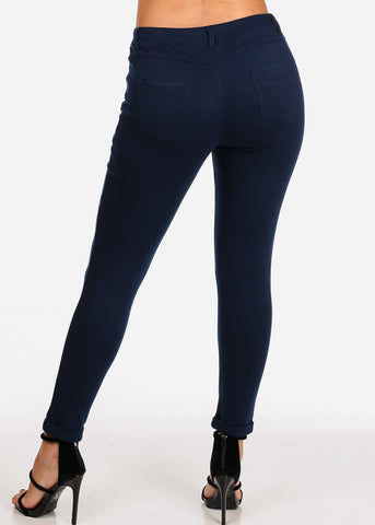 Image of Women's Junior Ladies Going Out Mid Rise 1 Button Solid Navy Skinny Pants