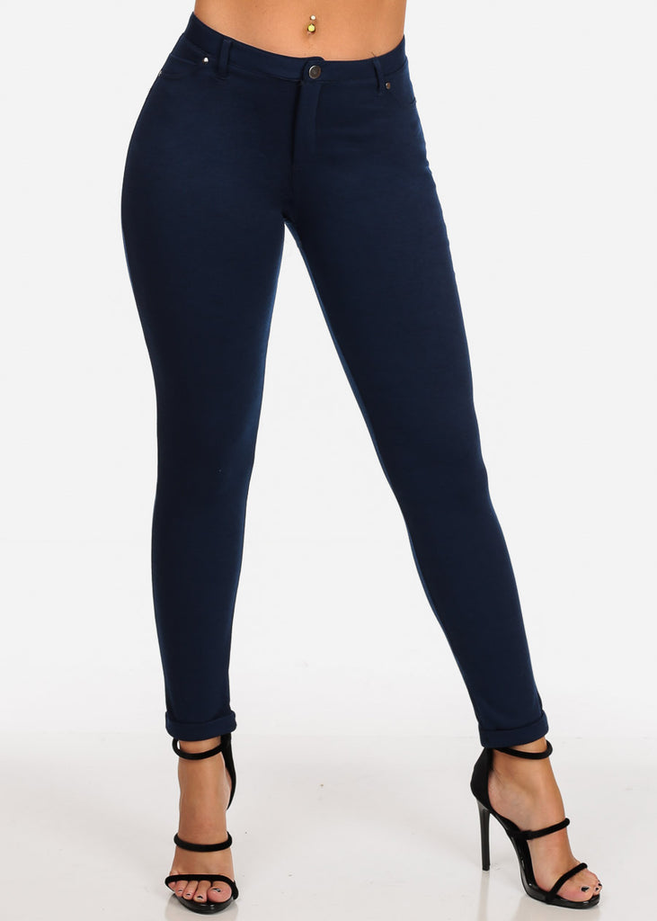 Women's Junior Ladies Going Out Mid Rise 1 Button Solid Navy Skinny Pants