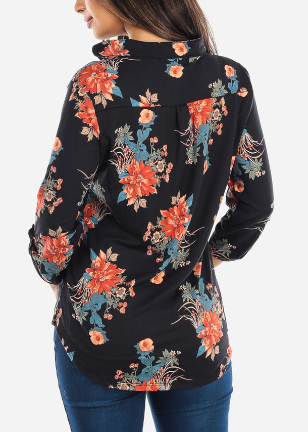 Half Button Up Black Floral Blouse