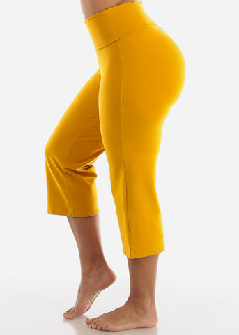 Mustard Cotton Spandex Fold Over Crop Yoga Pants