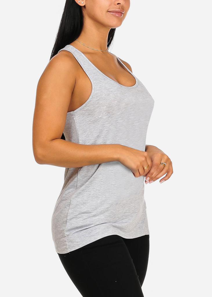 Sleeveless Super Stretchy Loose Fit Casual Daily Wear Light Grey Top Tee Camisole For Women Ladies Junior On Sale