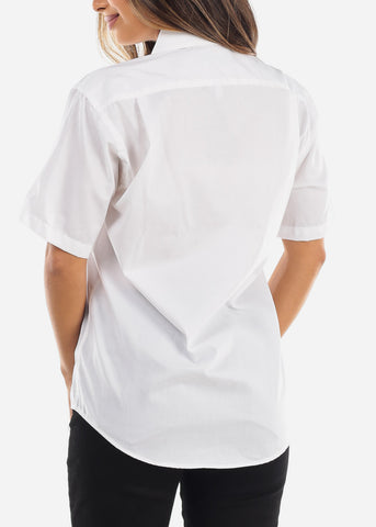 Short Sleeve White Oxford Shirt