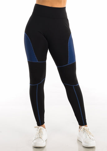 Activewear Blue Mesh Black Leggings