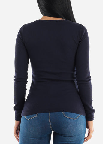 Waffle Knit Navy Scoop Neck Top