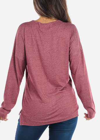 Lace Up Burgundy Long Sleeve Top