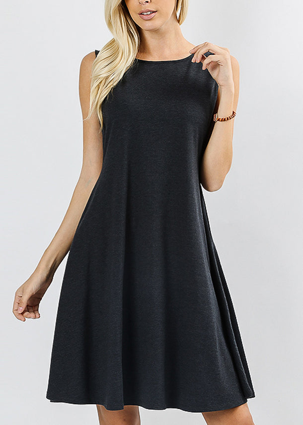 Sleeveless Charcoal Classic A-Line Dress