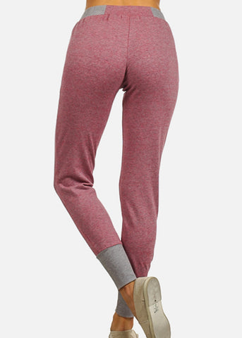 Image of Drawstring Waist Pink Jogger Pants