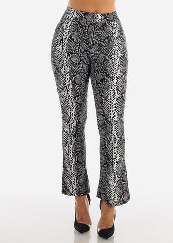 Image of High Rise Snake Print Black Pant