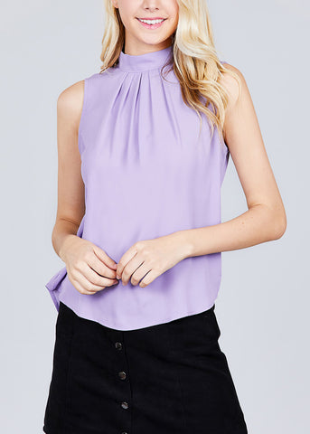 Dressy Mock Neck Lavender Blouse