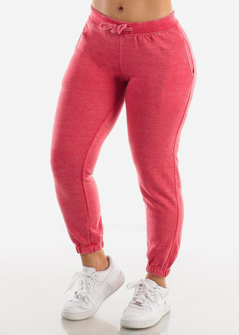 Image of Red Drawstring Fleece Sweatpants