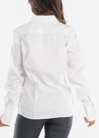 Image of White Wrinkle-Free Printed Button Down Shirt