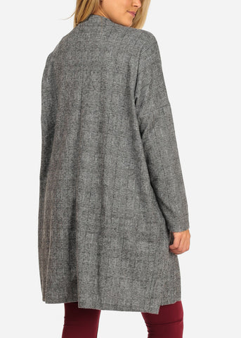 Image of Grey Printed Maxi Cardigan