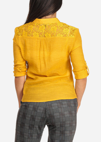 Image of Women's Junior Ladies Stylish Going Out Sexy 3/4 Roll Up Sleeve Floral Lace Detail Button Up Lightweight Mustard Blouse Shirt Top