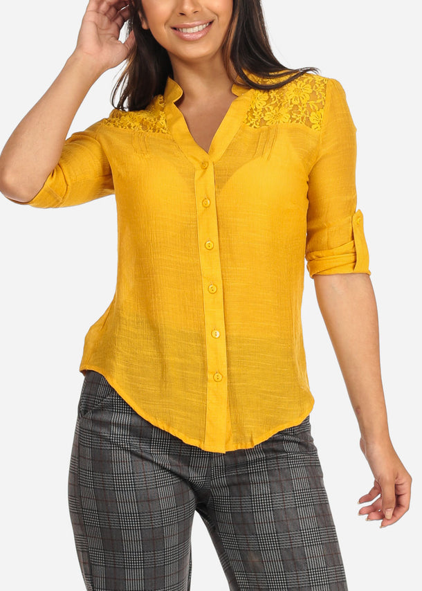 Women's Junior Ladies Stylish Going Out Sexy 3/4 Roll Up Sleeve Floral Lace Detail Button Up Lightweight Mustard Blouse Shirt Top