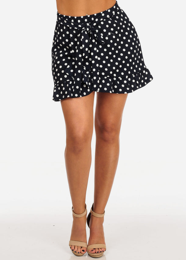Casual Cute Navy Polka Dot Mini Skirt W Tie Belt