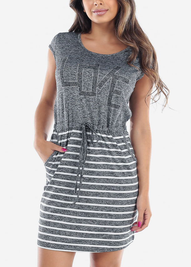 Women's Junior Ladies Casual Stretchy Rhinestone Partial Stripe Dark Grey Dress