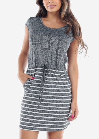 Image of Women's Junior Ladies Casual Stretchy Rhinestone Partial Stripe Dark Grey Dress