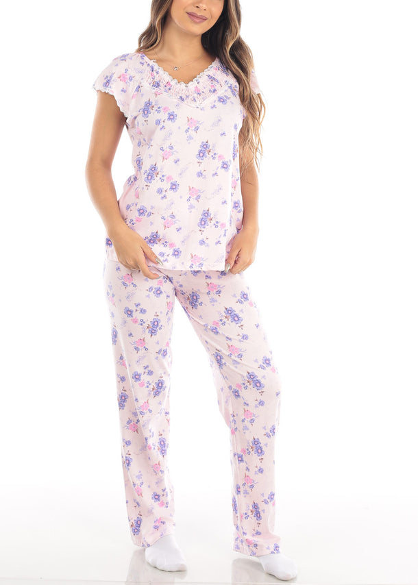 Floral Print Pink Top & Pants (2 PCE PJ SET)