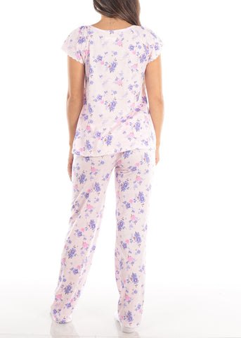 Image of Short Sleeve Floral Print Pink Top And Pants Two Piece Set Sleepwear