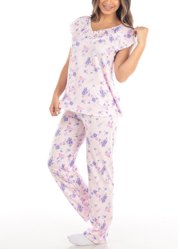 Short Sleeve Floral Print Pink Top And Pants Two Piece Set Sleepwear