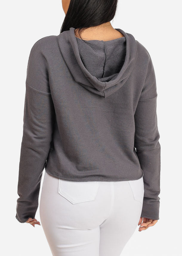 Chocker Neckline Grey Cropped Pullover W Hood