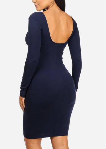 Image of Stylish Long Sleeve Navy Dress