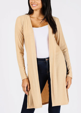 Ribbed Nude Maxi Cardigan