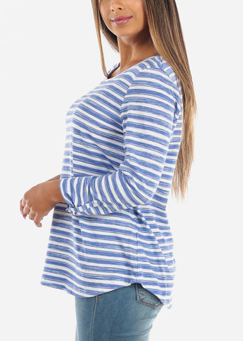 Casual Blue Stripe 3/4 Sleeve Stretchy Tunic Top For Women Ladies Junior On Sale Affordable Price