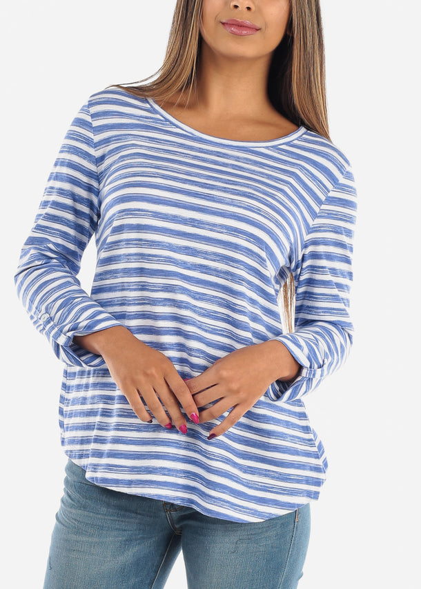 Casual Blue Stripe Tunic Top