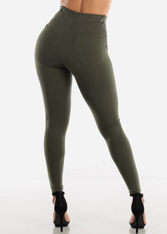 High Waisted Olive Skinny Pants