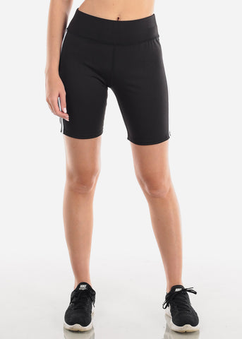 Image of Women's Junior Ladies Activewear Gym Running Mid Thigh Spandex Black Side White Stripe Active Shorts