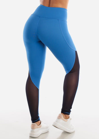 Image of Activewear Mesh Detail Blue Leggings