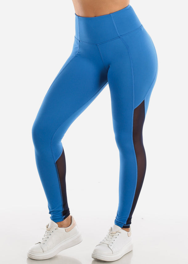 Activewear Mesh Detail Blue Leggings