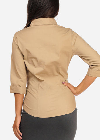 Image of Office Business Wear Button Up 3/4 Sleeve Khaki Shirt Top