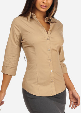 Office Business Wear Button Up 3/4 Sleeve Khaki Shirt Top