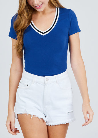 Image of Stripe V Neckline Royal Blue Top