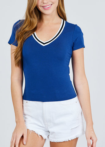 Stripe V Neckline Royal Blue Top
