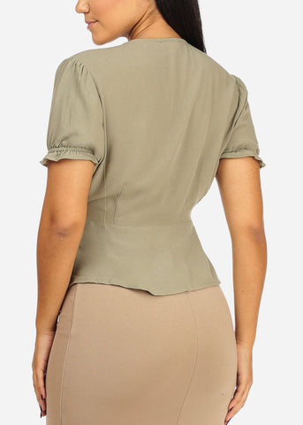 Olive Top W Front Buttons Design