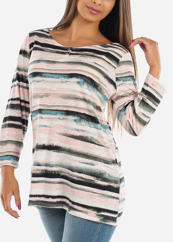 Image of Casual Pink Stripe 3/4 Sleeve Stretchy Tunic Top For Women Ladies Junior On Sale Affordable Price