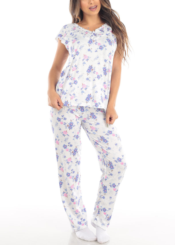 Floral Print White Top & Pants (2 PCE PJ SET)