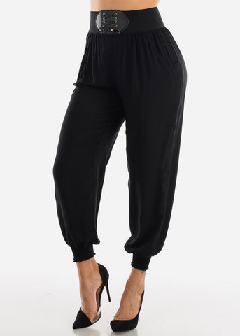 Elastic Waist Lightweight Black Pants