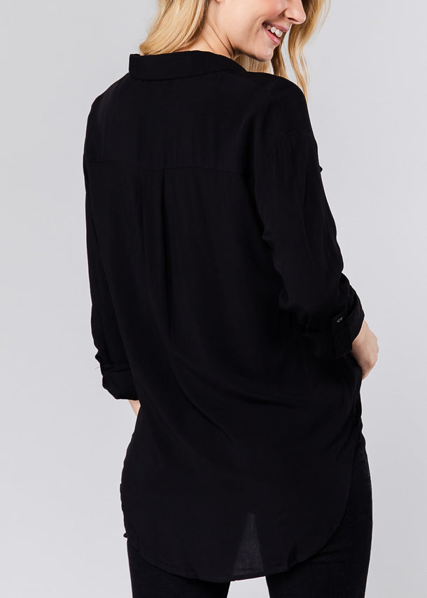 Classic Black Front Pocket Shirt