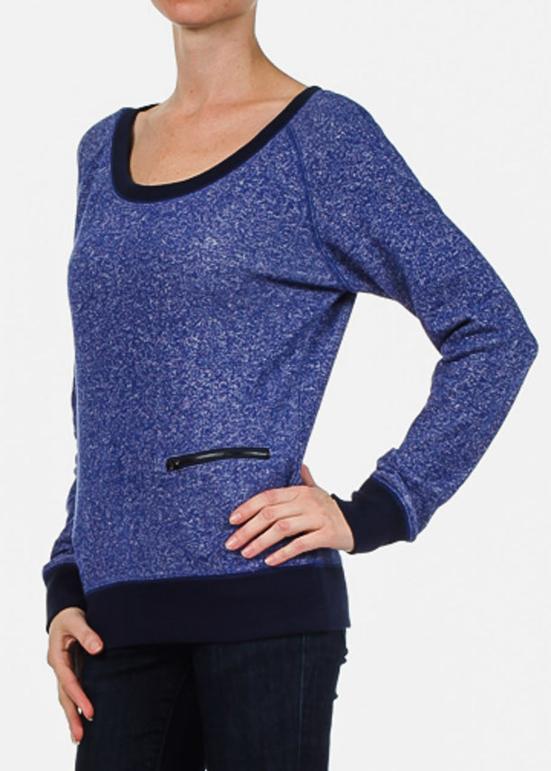 Royal Blue Long Sleeve Casual Pullover