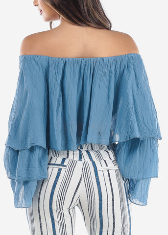 Image of Lightweight Off Shoulder Blue Crop Top
