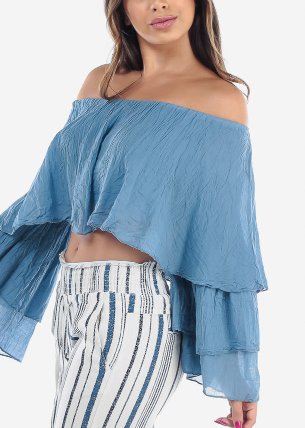 Off Shoulder Long Sleeve Crop Top For Women Ladies Junior 2019 New Miami Styles Trends