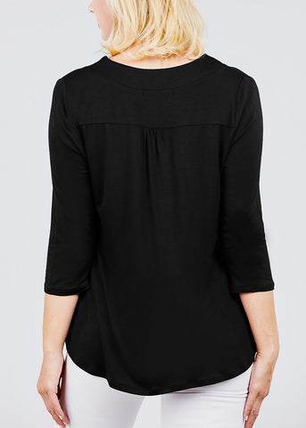 V-Neck 3/4 Black Tunic Top